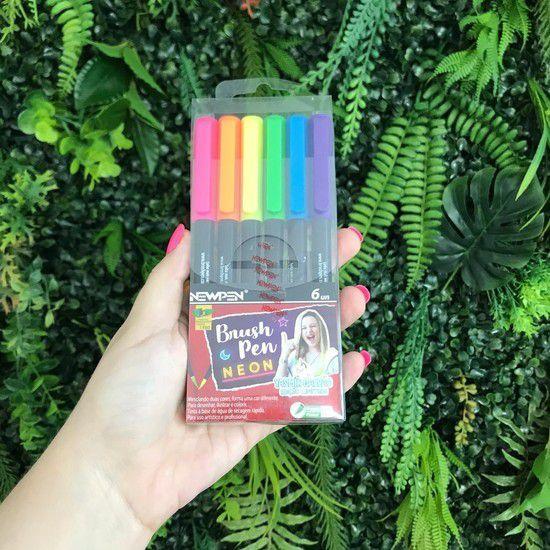 Brush Newpen - Kit com 6 cores Neon - Ed Especial Yasmin Galvão