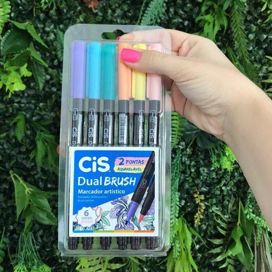 Cis Dual Brush Aquarelável - Kit com 6 cores pastéis