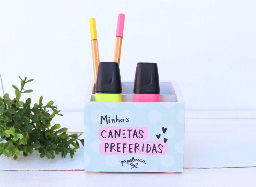 """Porta Lápis 10 x 10cm """"Minhas Canetas Preferidas"""""""