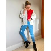 Calça Jeans Destroyed Beca - Lavagem Clara