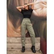 Calça Feminina Baggy Jeans Elástico - Verde