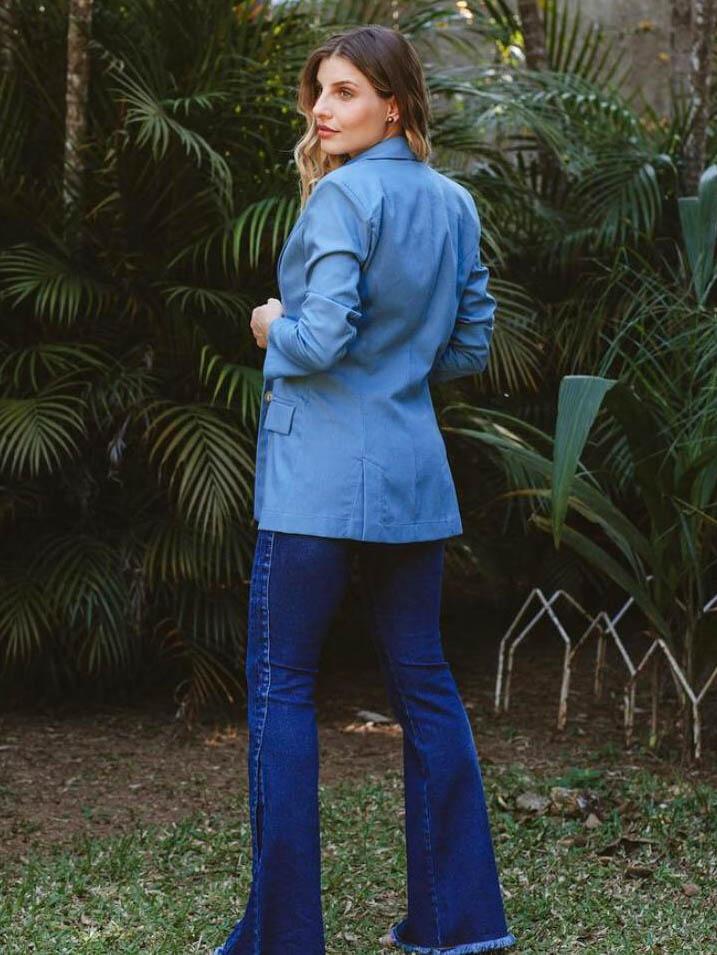 Blazer Linho Alongado - Azul