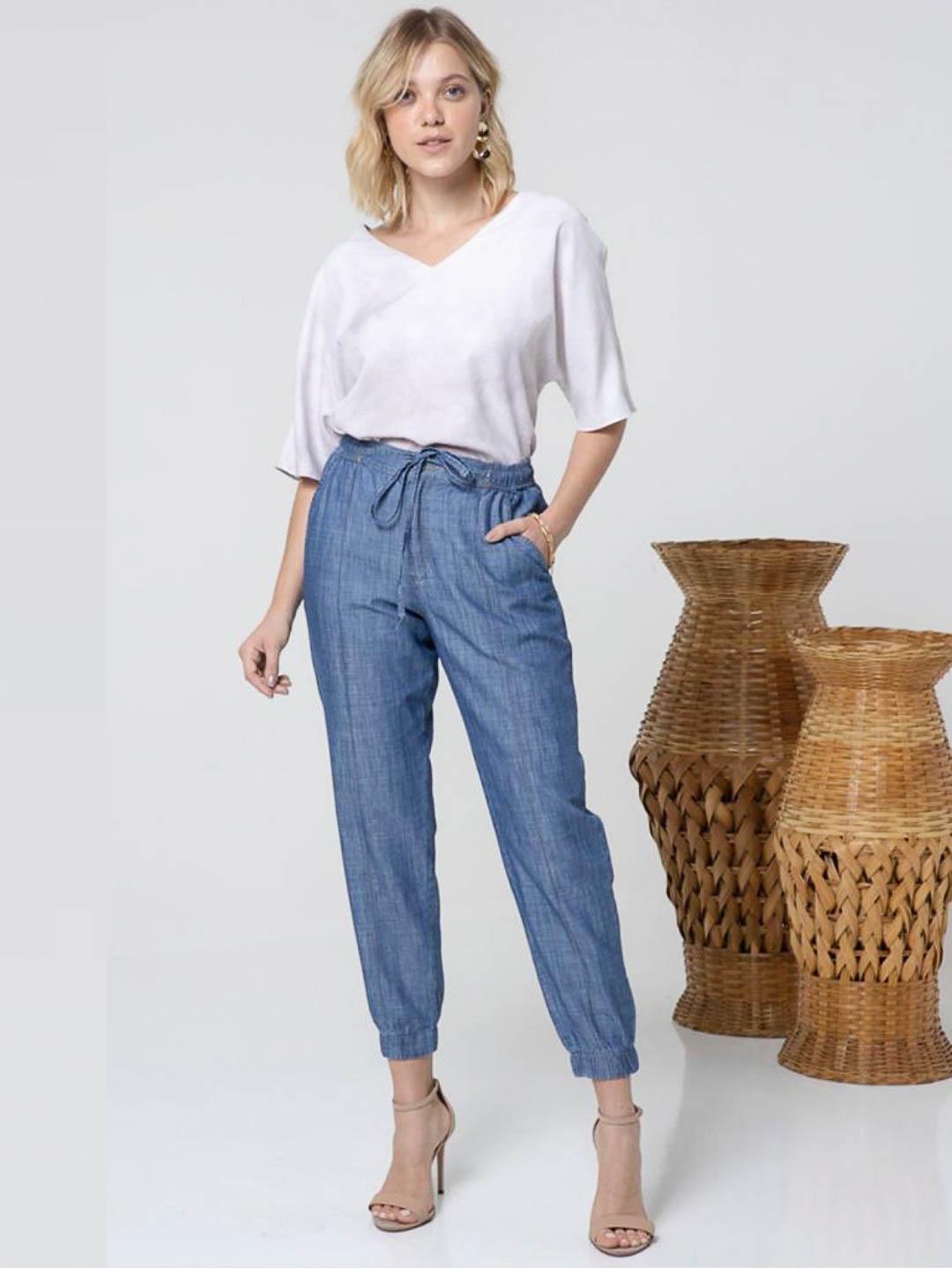 Calça Jogger Tencel - Azul Jeans