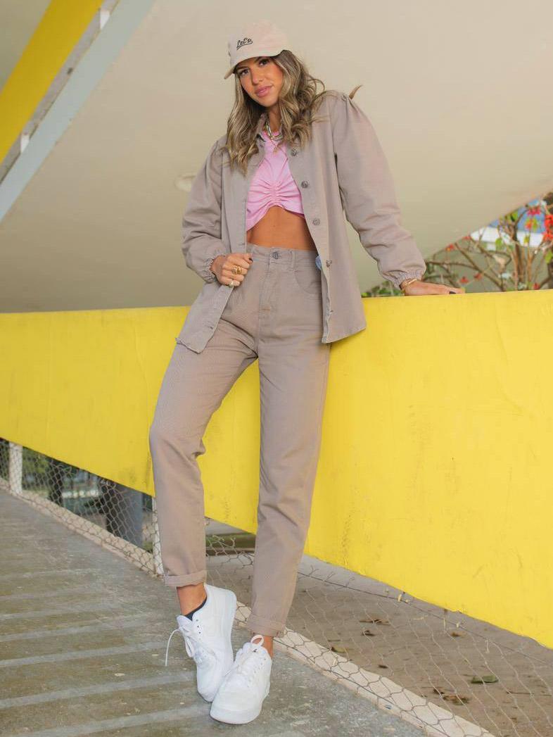 Camisa Jeans Alongada Cris - Cinza Grape