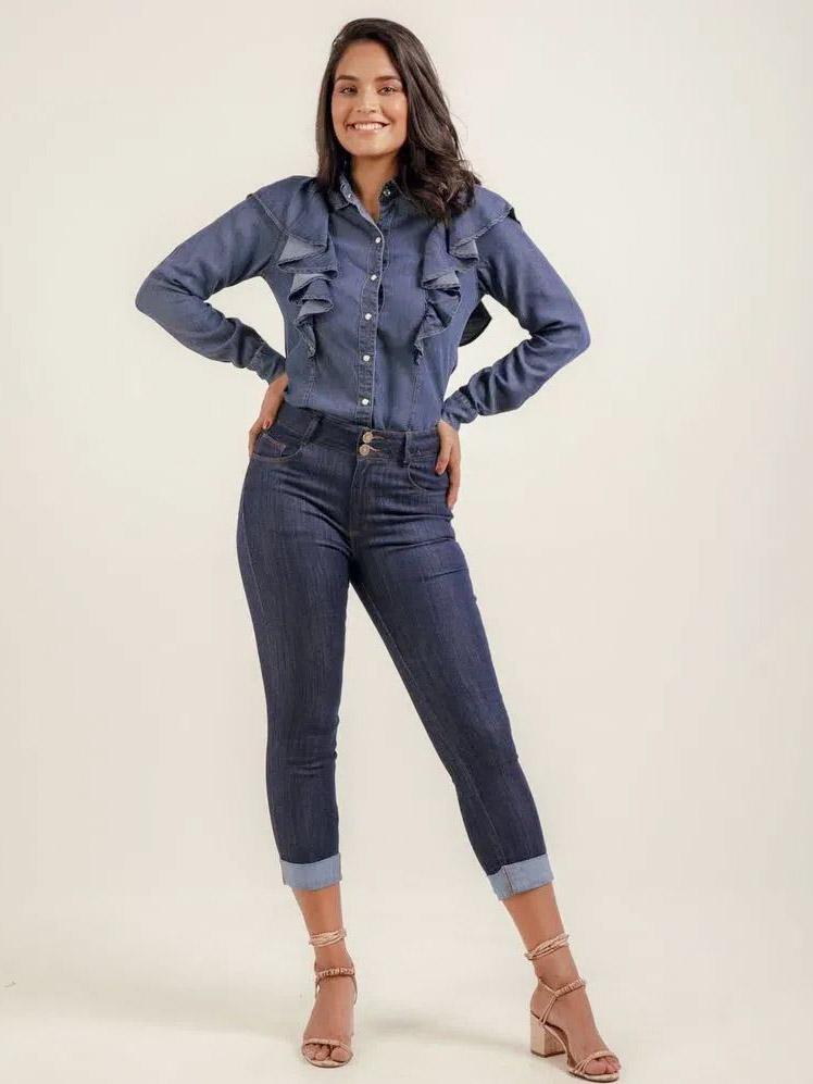 Camisa Jeans Babados - Marcela