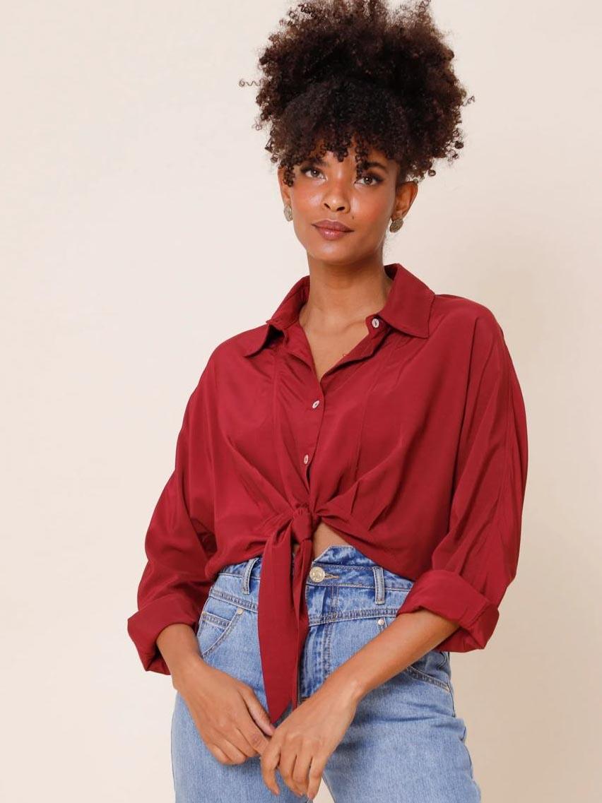 Camisa Recortes - Nina - Vinho