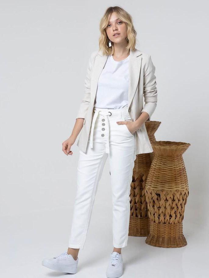 Calça Skinny Cintura Alta com Botões - Off White