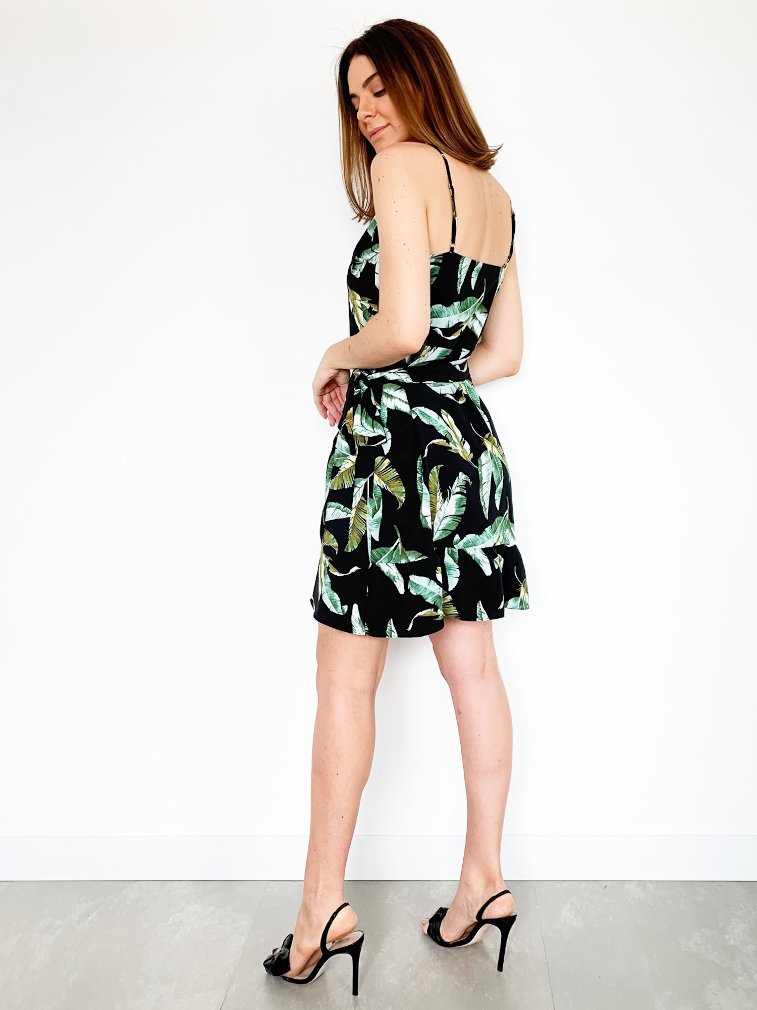 Vestido Estampado Gabi - Preto e Verde