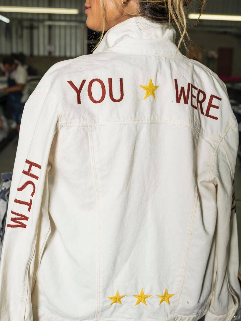 Jaqueta Jeans Wish You Were Here - Off White