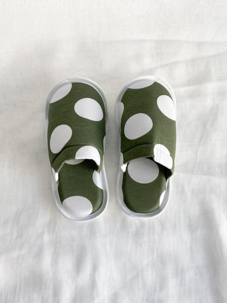 Pantufa Feminina - Poá Verde