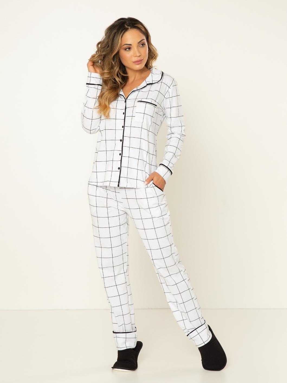 Pijama Camisaria Manga Longa  - Xadrez