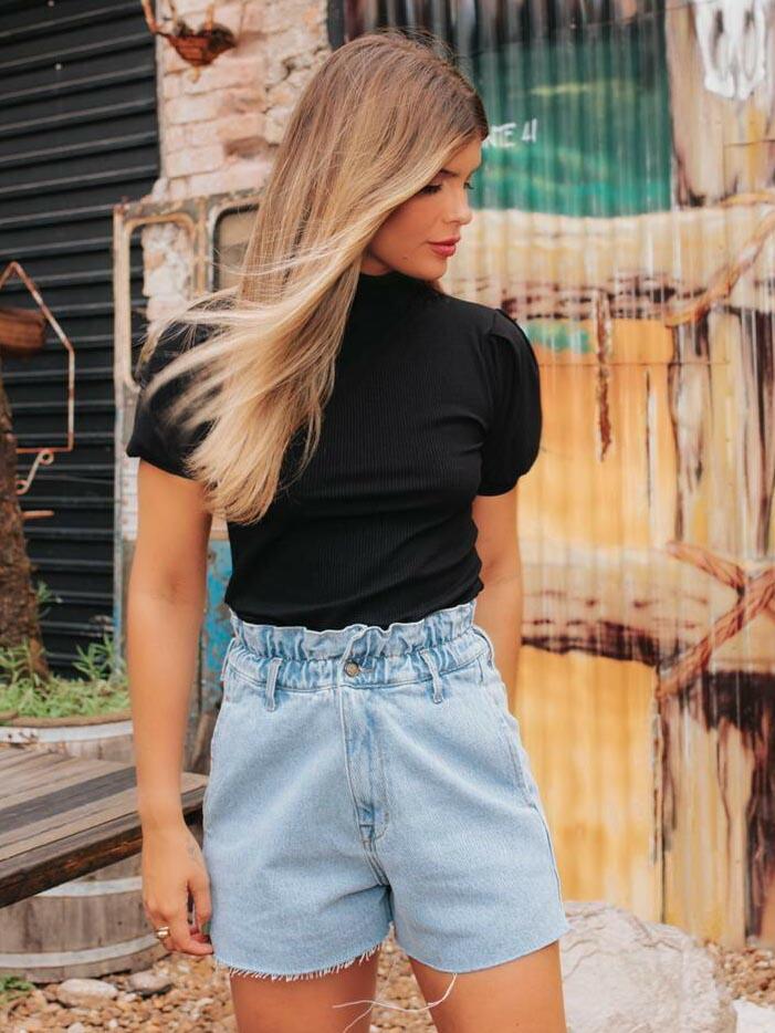 Short Jeans Clochard - Lavagem Clara
