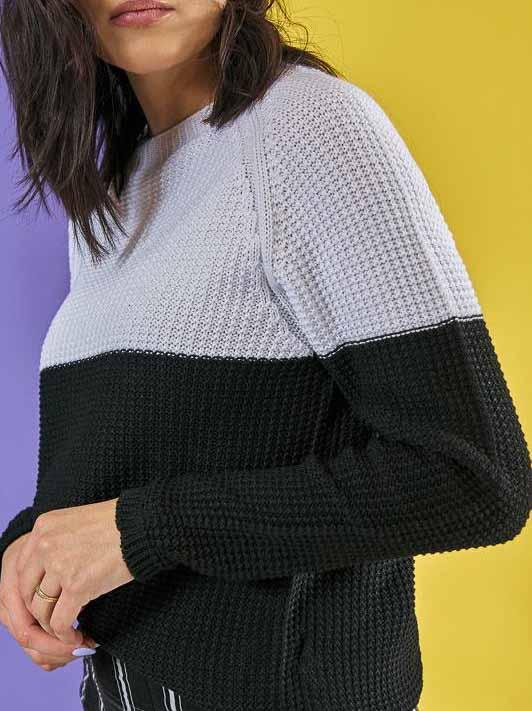 Tricô Textura Fabi - Preto e Branco