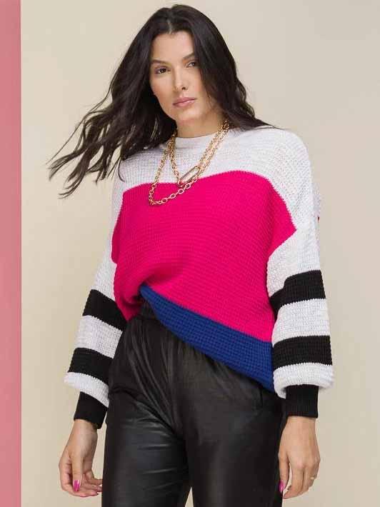 Tricô Textura Multicolor - Pink/Azul