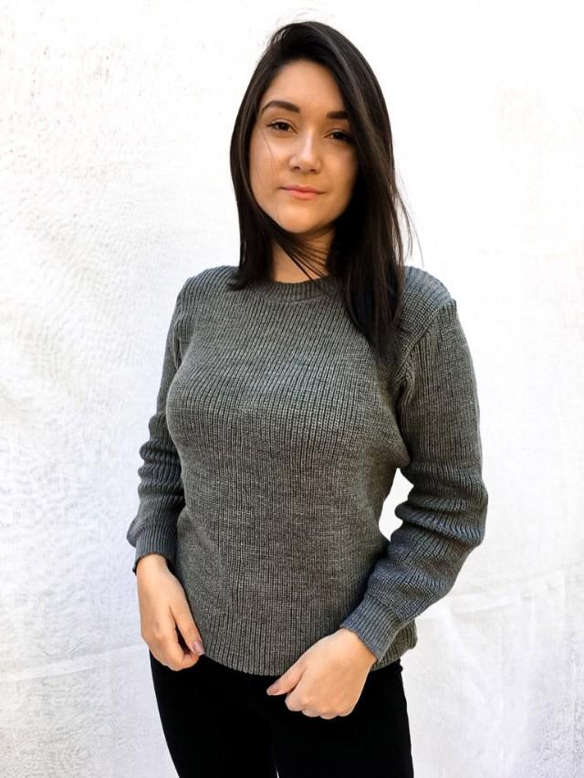 Moletom Feminina Tricô Fio Especial - Pérola - Cinza