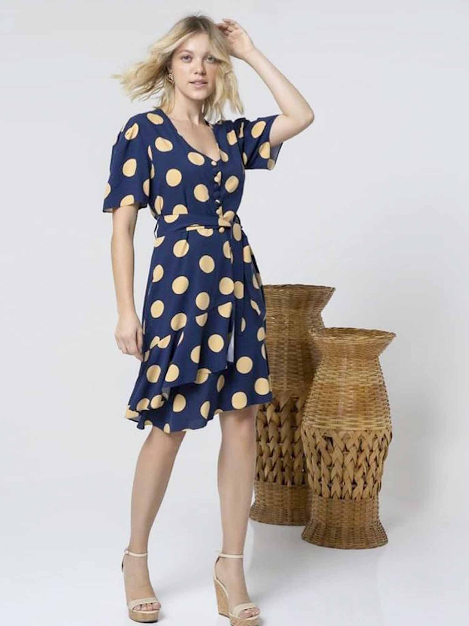 Vestido Poá Luana - Azul