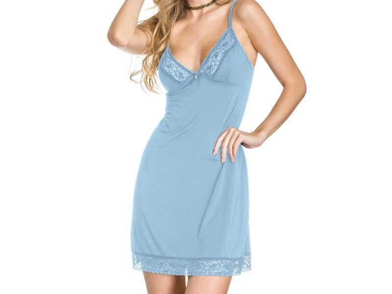 Camisola Azul sem bojo com detalhes em renda