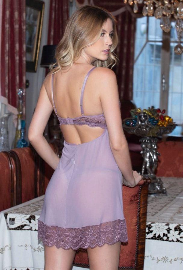 Camisola em Tule e Renda Purpura