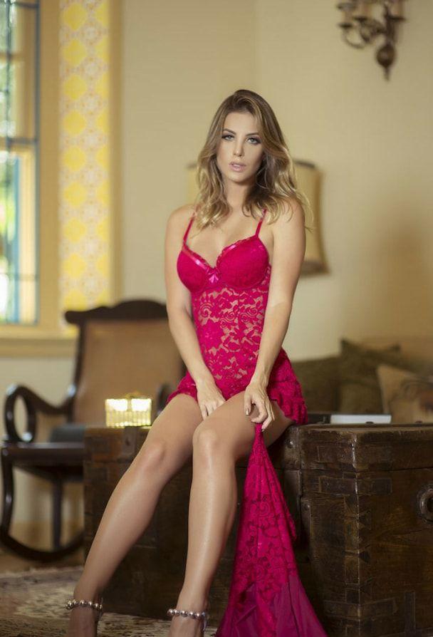 Camisola Sensual em Renda Pink