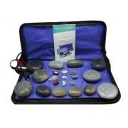 Kit 12 Pedras Quentes Em Ágata com Bolsa Térmica - Estek 220v