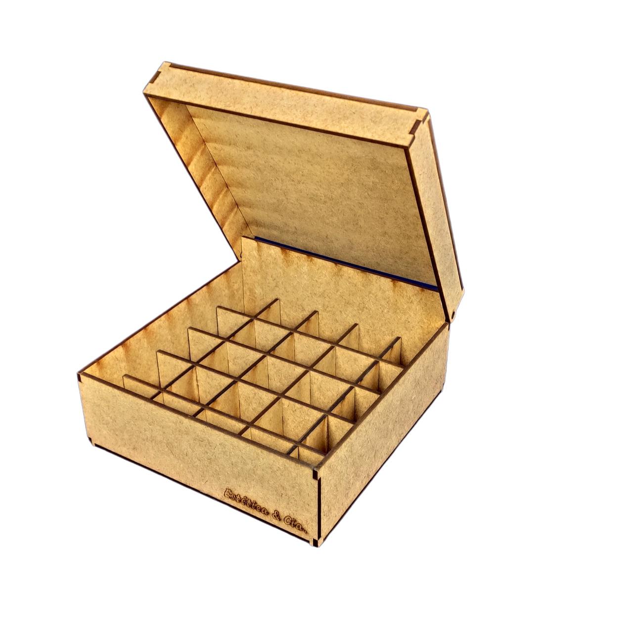 Caixa Organizadora em MDF - Capacidade 25u de Óleos ou Essências