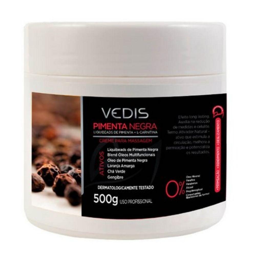 Creme Massagem Pimenta Negra 500g - Vedis