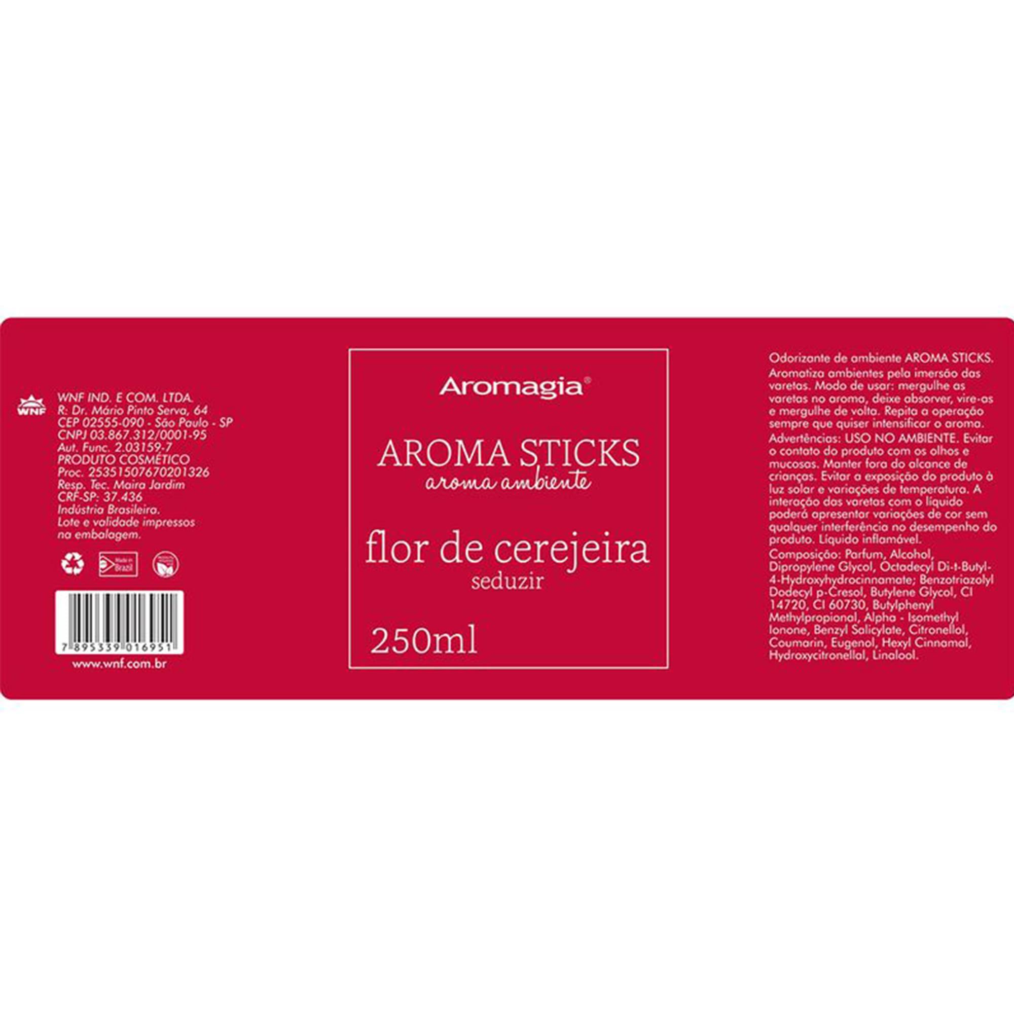 Difusor por varetas Aroma Sticks Aromagia 250ml - Flor de Cerejeira - WNF