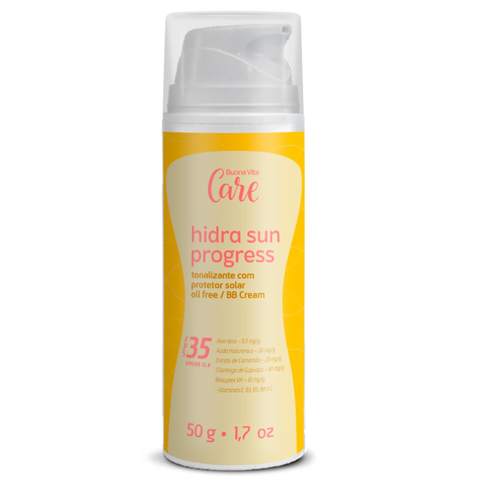 Hidra Sun Progress FPS35 - Tonalizante com Protetor Solar Oil Free 50g |Buona Vita Cosméticos