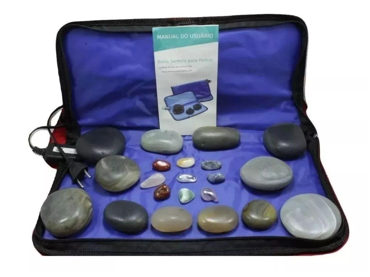 Kit 12 Pedras Quentes Em Ágata com Bolsa Térmica - Estek 110v