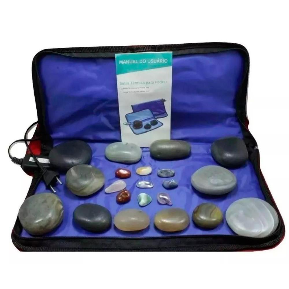 Kit 12 Pedras Quentes Em Ágata com Bolsa Térmica - Estek