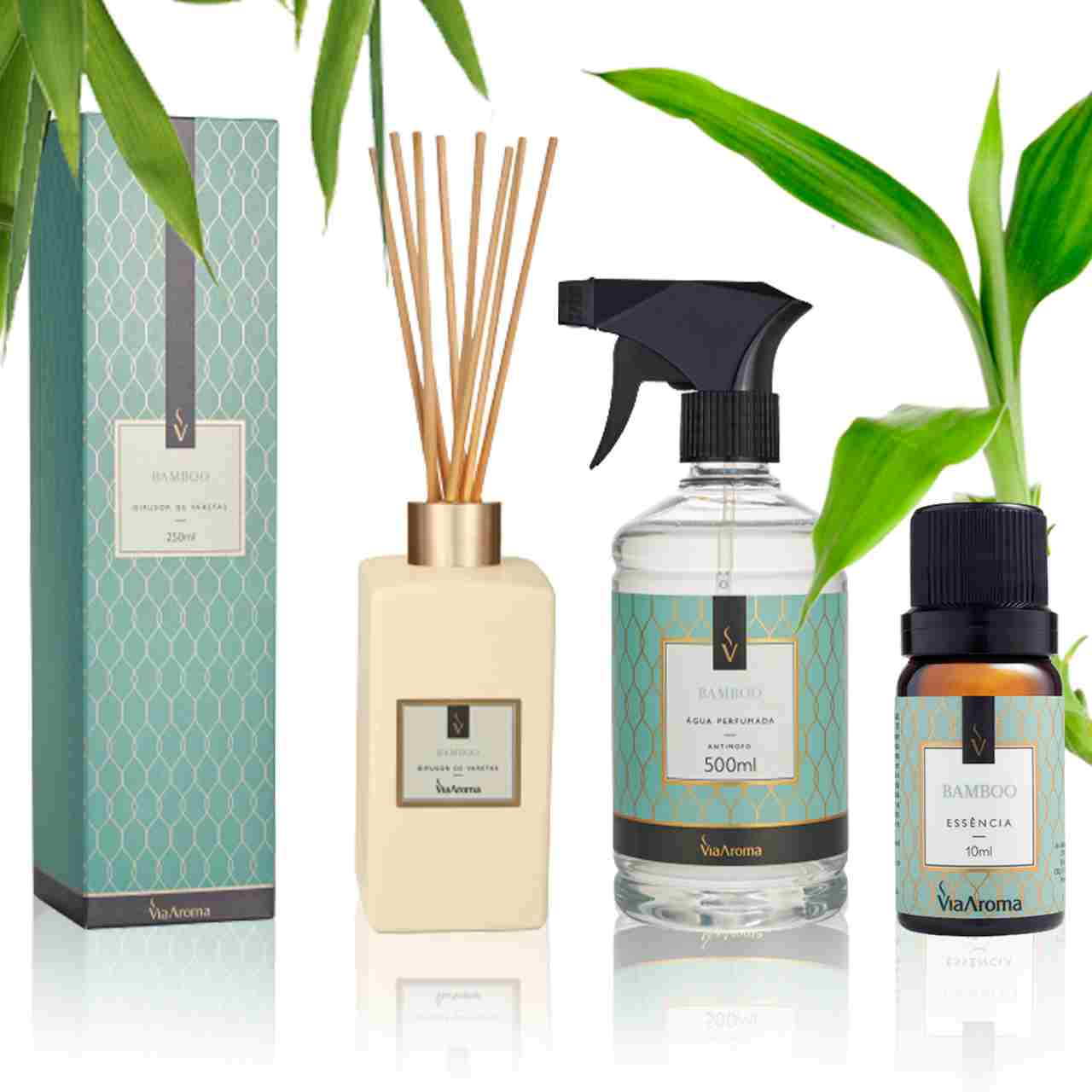 Kit 3 produtos Casa Perfumada M - Essência Bamboo - Aroma CÍtrico e Refrescante