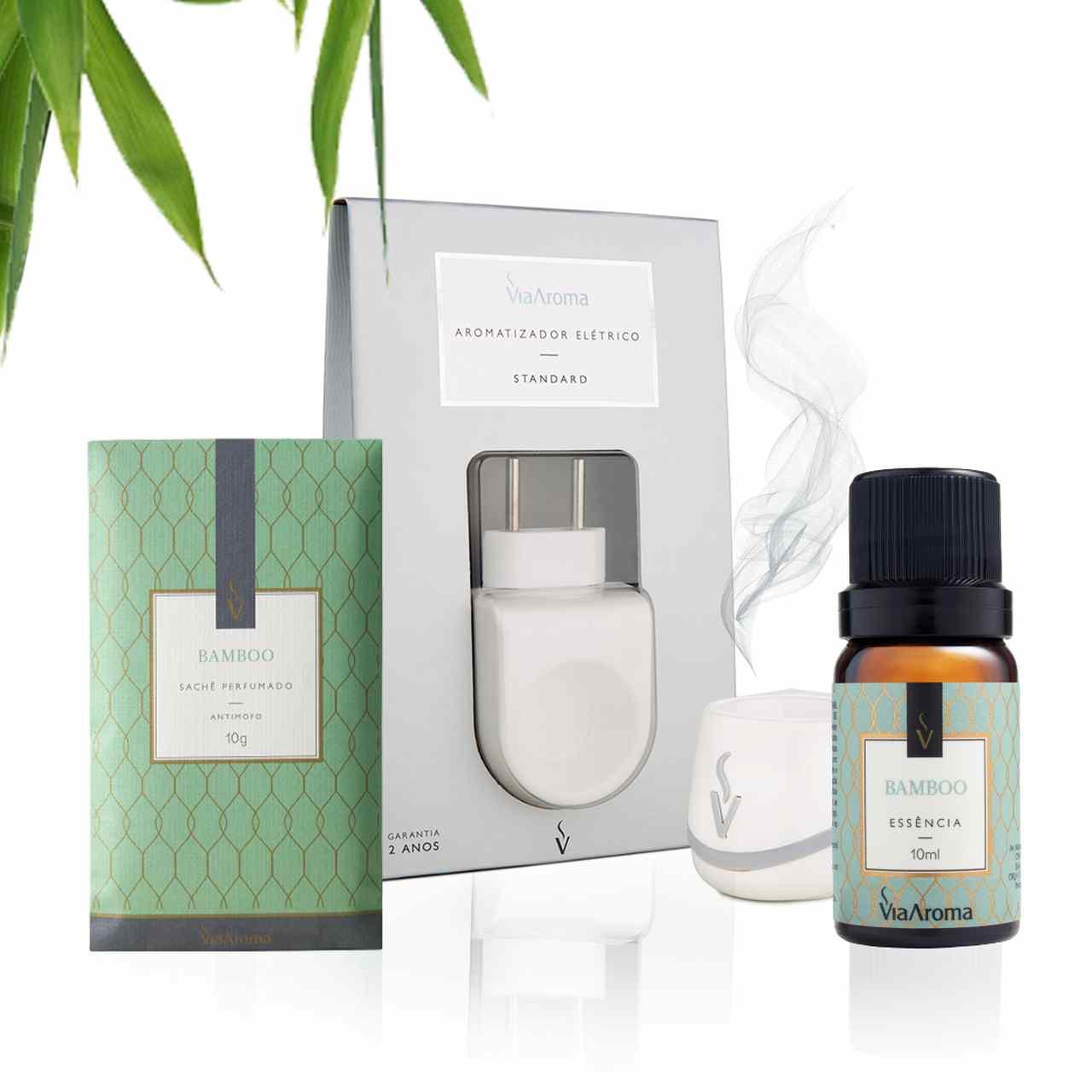 Kit 3 produtos Casa Perfumada P - Essência Bamboo + Aromatizador Elétrico + Sachê Perfumado