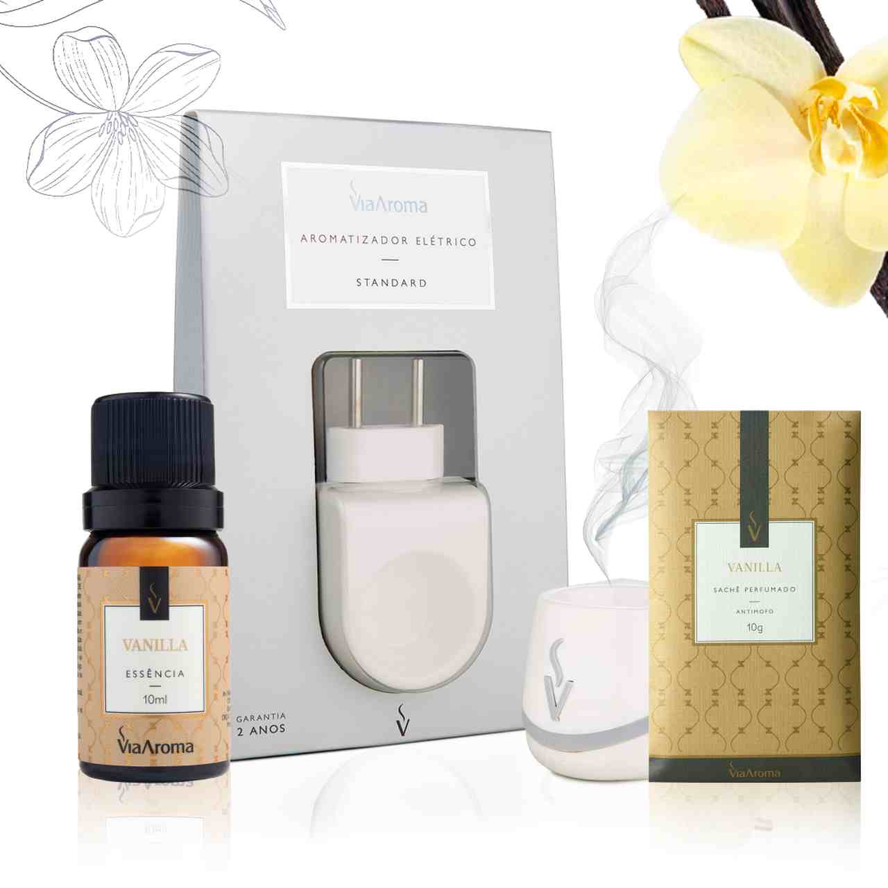 Kit 3 produtos Casa Perfumada P - Essência Vanilla + Aromatizador Elétrico + Sachê Perfumado
