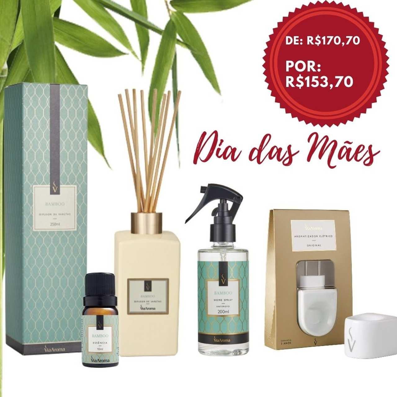 Kit 4 produtos Casa Perfumada - Essência Bamboo - Aroma CÍtrico e Refrescante