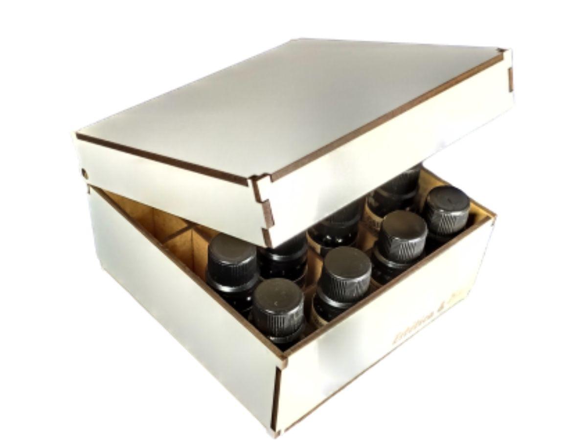 Kit 8 Óleos Essenciais Via Aroma 100% Puros + Caixa Organizadora MDF Branca