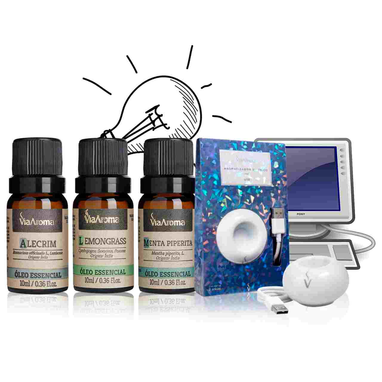 Kit Concentração Total - 3 Óleos Essenciais + Difusor USB para melhorar foco e produtividade