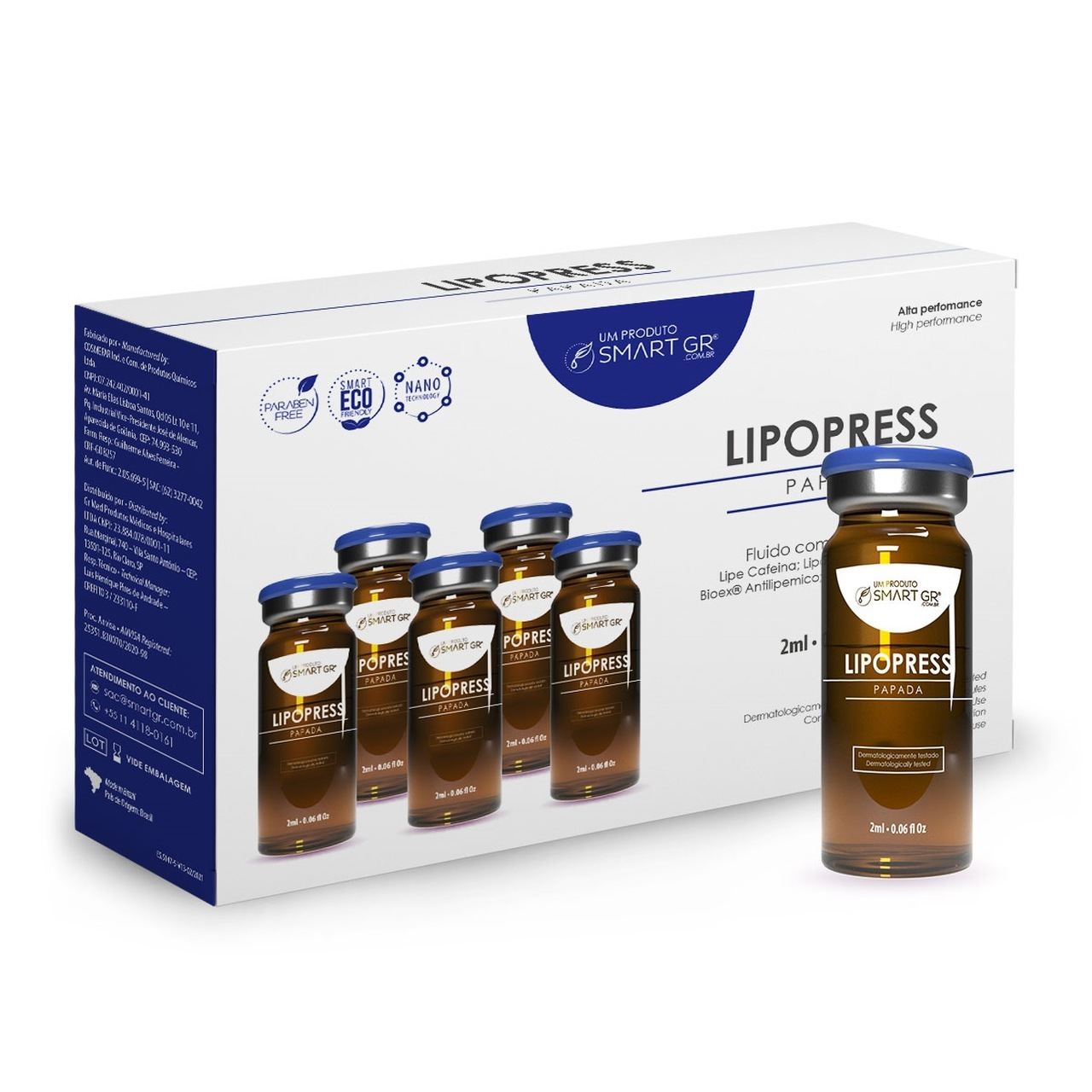 Kit Lipopress 5 Ampolas Liporedutor - 5 Frascos de 2 ml - Smart GR
