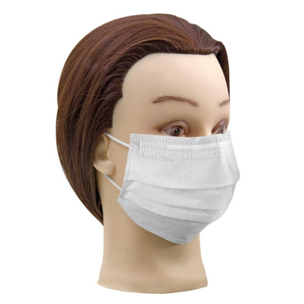 Máscara Facial com Elástico Descartável Branca 25 Unidades - Santa Clara