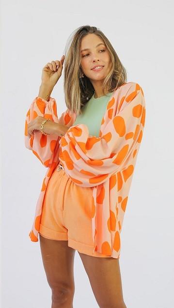 Kimono Poá Laranjinha