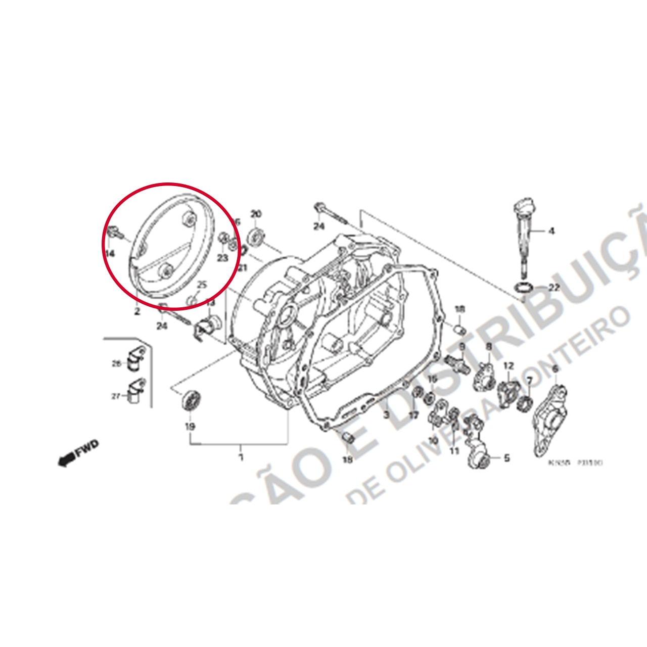 Acabamento Tampa Motor Direito Biz 125 Original Honda 11371KSS900