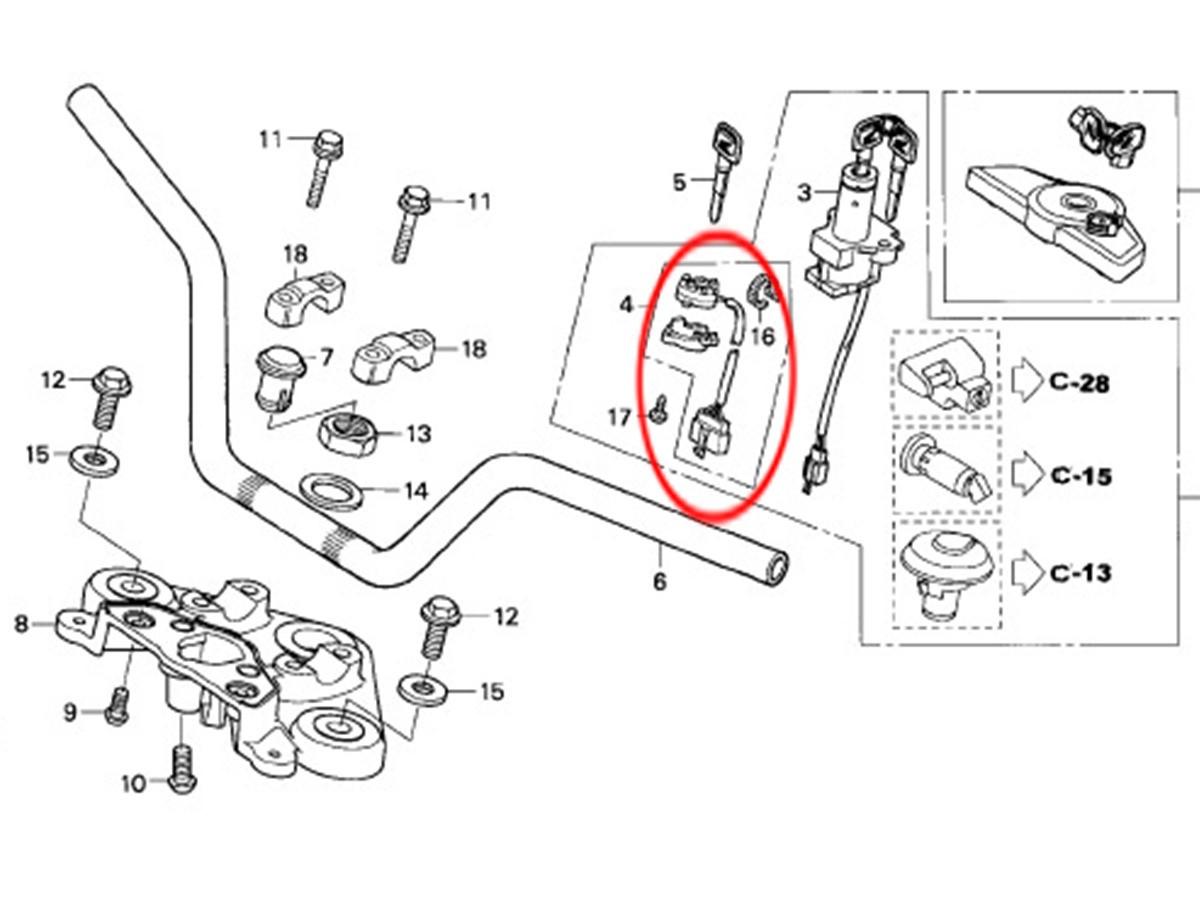 Base Chave Ignição Cg 150 Fan Titan 2004 2005 2006 2007 2008 2009 2010 Original Honda 35101KRM850