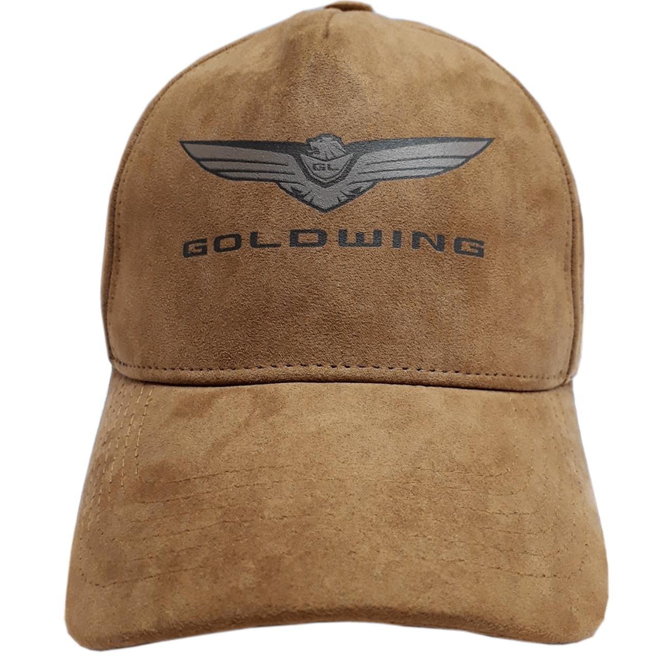 Boné de Couro Aba Curva Trucker Goldwing