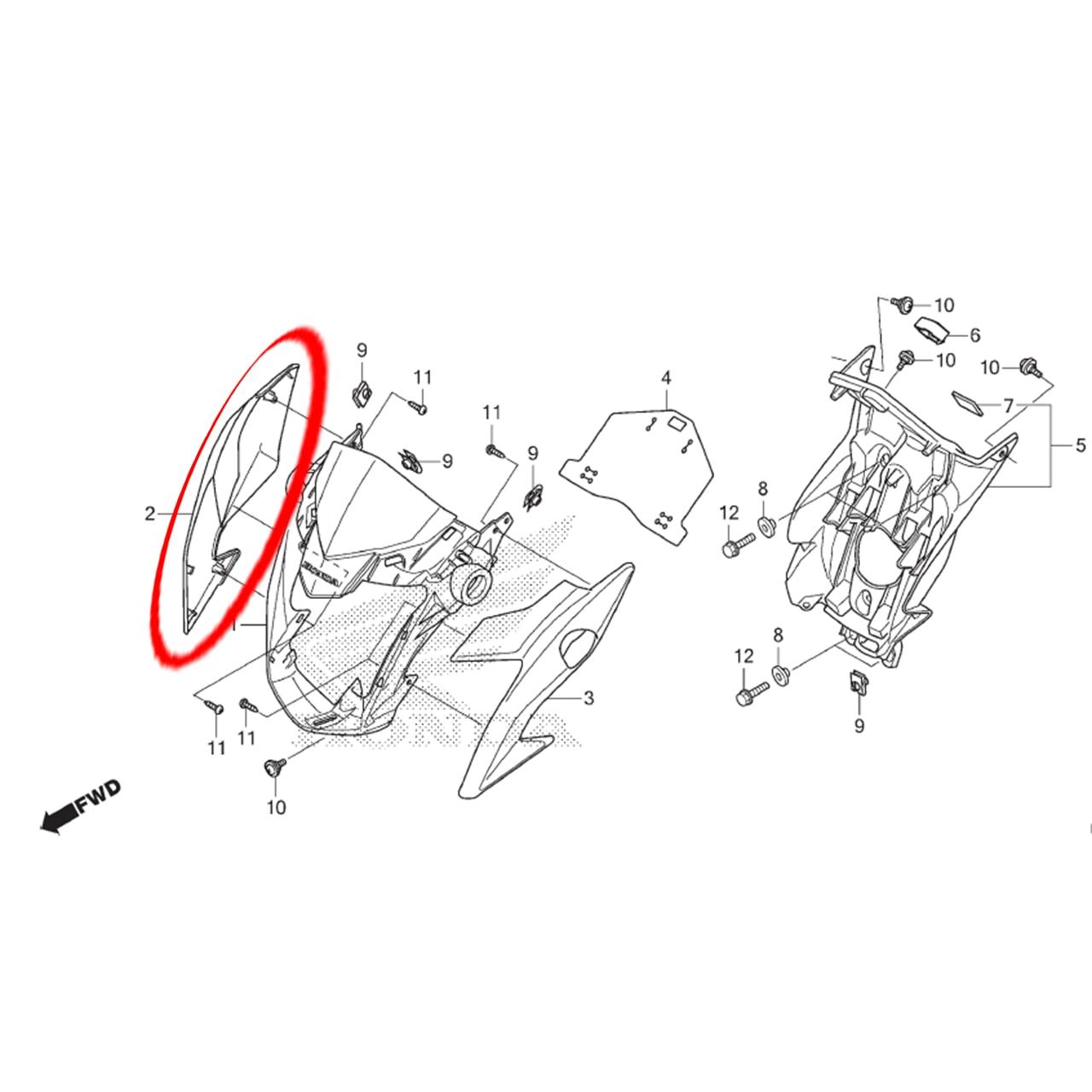Carenagem Direita Farol Prata Cg 160 Titan Ex 2019 Original Honda 61302KVSJ20ZF