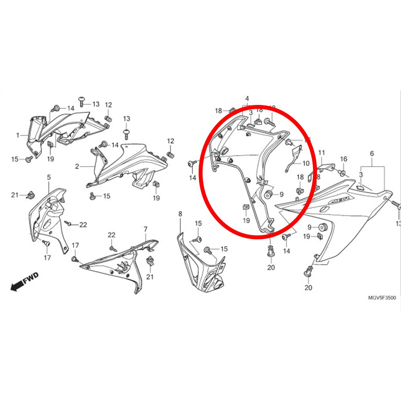 Carenagem Inferior Lateral Direita CBR 600F FA 2012 Original Honda 64310MGVB00ZA