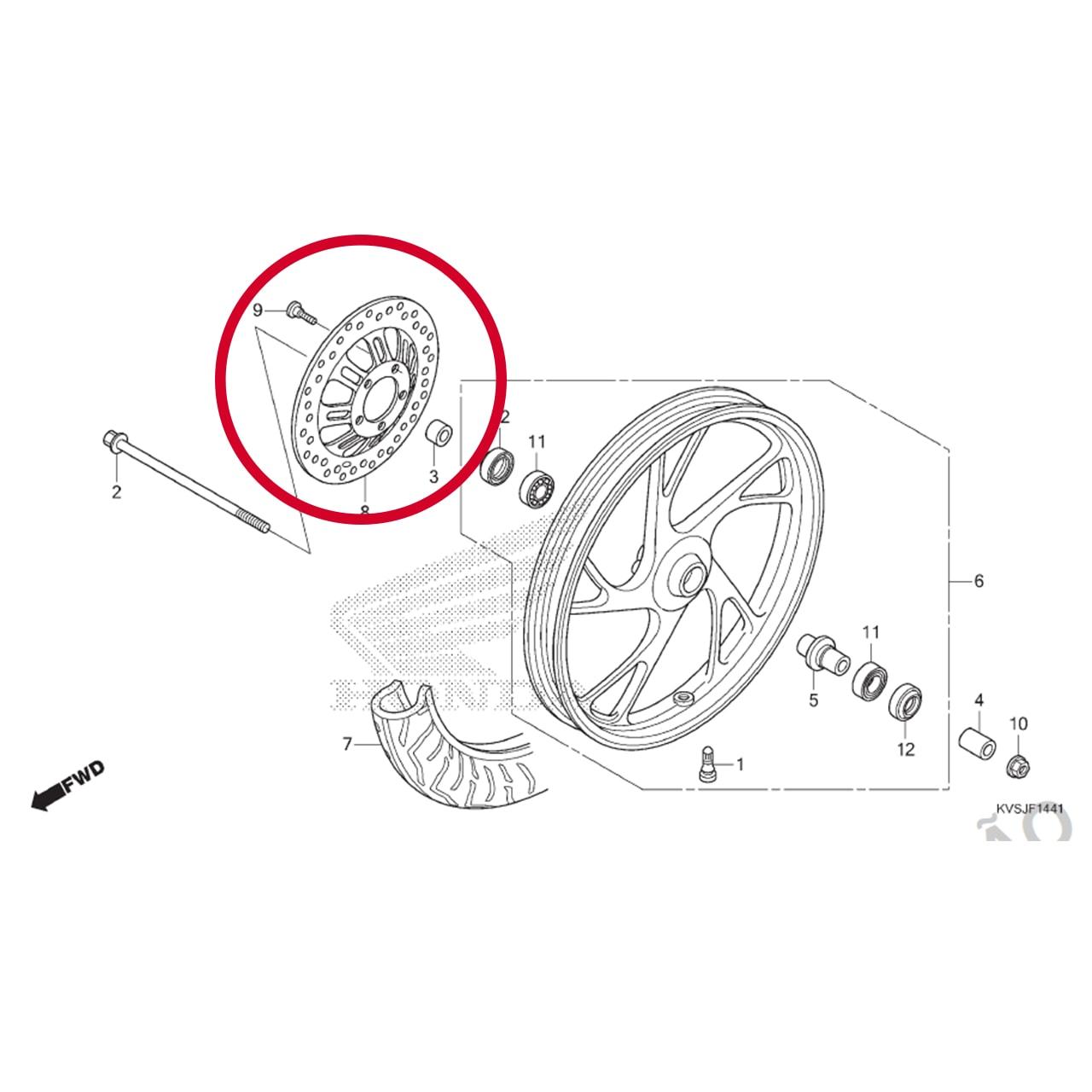 Disco de Freio Dianteiro CG 160 2018 2019 2020 Origina Honda 45251KVSM20
