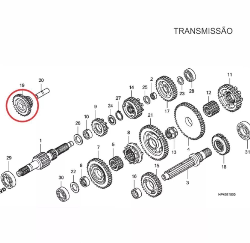 Engrenagem Intermediária da Ré Quadriciclo Honda Fourtrax 420 Original Honda 23721HP5600