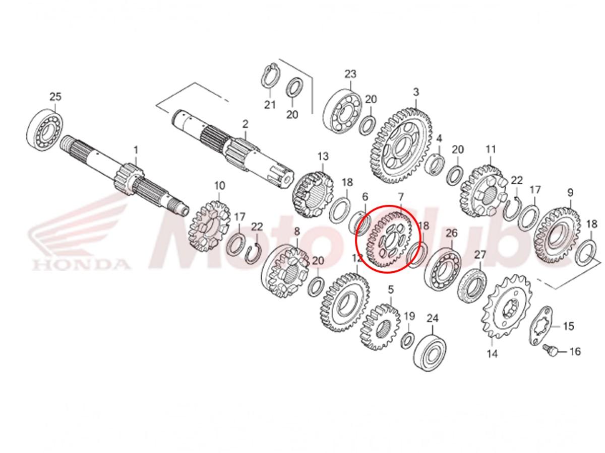 Engrenagem Secundaria Transmissão BROS 150 2009 2010 Original Honda 23441KREB00