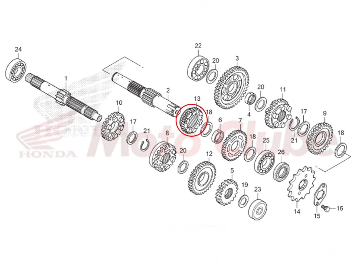 Engrenagem Secundaria Transmissão CG 125 KS CKS 2016 2017 2018 Original Honda 23501KVS740