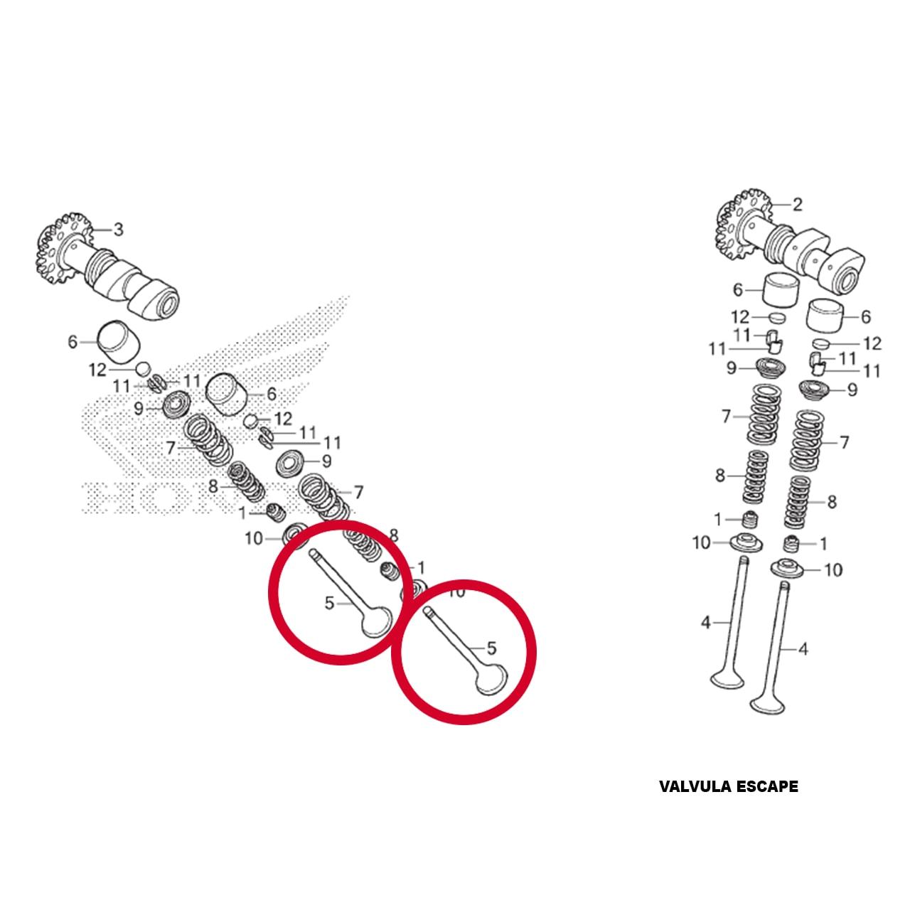 Kit Válvula Escape XRE 300 2019 2020 Original Honda  14721KWTD20