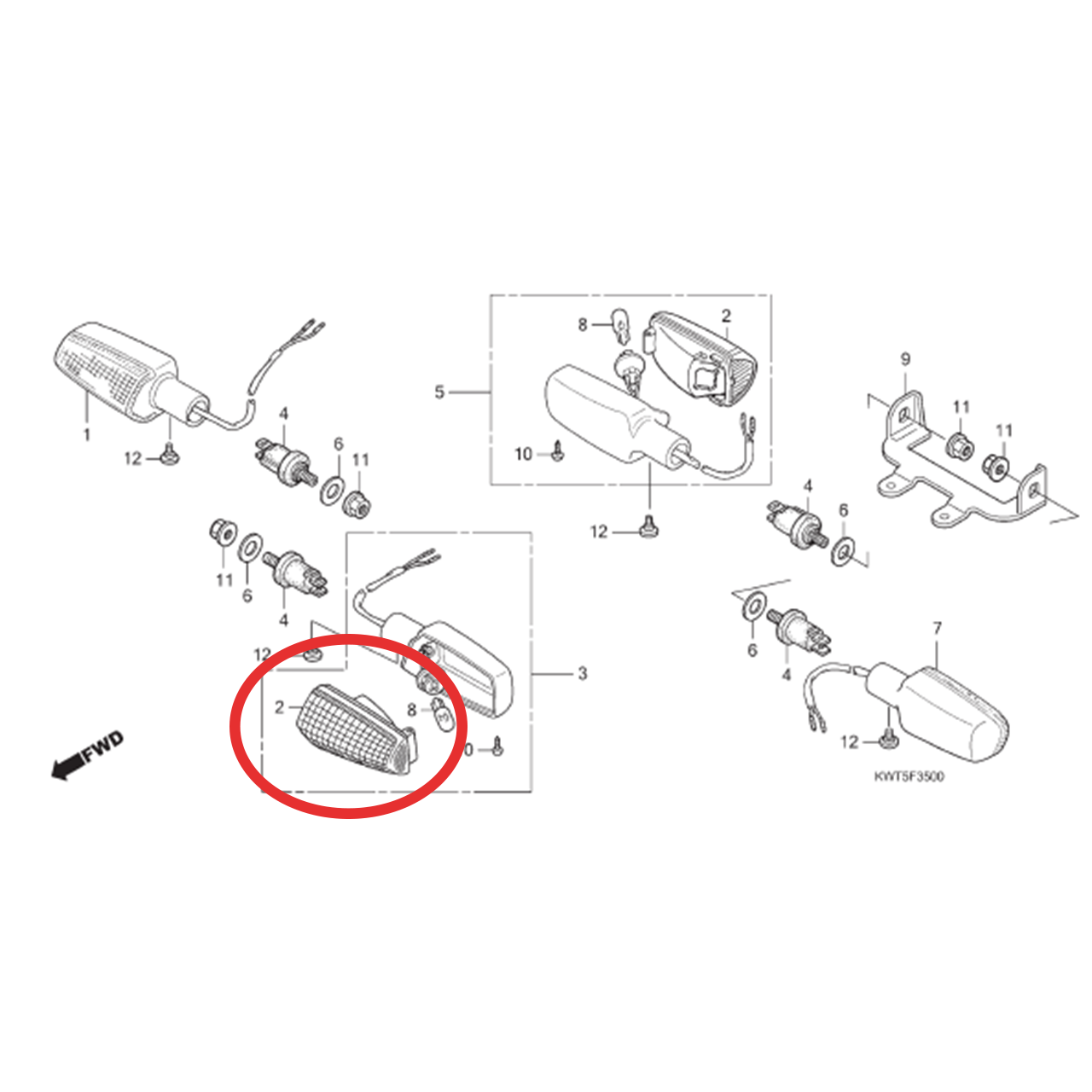 Lente Pisca XRE 300 2010 2011 2012 2013 2014 2015 2016 2017 2018 Original Honda 33410KWT901